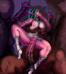 1girl 3boys :>= aka6 animal_genitalia animal_penis armlet armored_boots big_balls big_breasts big_penis bottomless bovine breast_grab breast_grope breast_hold breast_squish breasts cheek_bulge clitoris club_shaped_penis defeated ear_piercing elf elf_ears equine_penis erection fellatio female flared_penis foursome gangbang green_hair group group_sex half_naked hand_on_penis handjob holding_penis horsecock huge_cock interspecies large_penis long_ears long_penis male medial_ring minotaur monster monster_cock mottled_penis mouthful night_elf nipples_visible_through_clothing oral partially_nude penetration penis penis_grasp pointy_ears purple_skin sex size_difference straight stretched_pussy tauren thick_penis tight_fit two_tone_penis tyrande_whisperwind vaginal_penetration veiny_penis warcraft world_of_warcraft