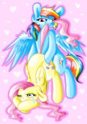 bite blue_feathers blue_fur blush crying cutie_mark decibeldisorder duo equine feathered_wings feathers female feral fluttershy_(mlp) friendship_is_magic from_behind_position fur hair heart hi_res horse long_hair mammal multicolored_hair multicolored_tail my_little_pony pegasus pink_hair rainbow_dash_(mlp) rainbow_hair rainbow_tail rough_sex sex smile tail_pull tears wings yellow_fur yuri