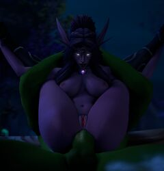 1boy 1girl 3d anal anal_sex belly big_breasts big_penis full_nelson glowing_eyes green_skin head_grab holding huge_penis interspecies large_ass large_breasts leeterr legs_up long_ears navel night night_elf nipples orc outdoors penis pointy_ears purple_eyes purple_hair purple_skin pussy sex source_filmmaker spread_legs testicles thick_thighs thrall tyrande_whisperwind wide_hips world_of_warcraft