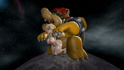 1boy 1girl bare_feet barefoot blonde_hair bowser breast doggy_style female happy_sex interspecies koopa male/female moon nintendo nude_female outer_space princess_rosalina space straight super_mario_bros. super_mario_galaxy vaginal_penetration vaginal_sex