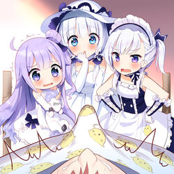 1boy 3girls apron azur_lane bangs bare_shoulders belfast_(azur_lane) black_bow black_ribbon blue_dress blue_eyes blush bow braid brown_hair commentary_request detached_sleeves dress elbow_gloves erection eyebrows_visible_through_hair frilled_apron frills gloves hair_bun hair_ribbon hand_to_own_mouth hands_on_hips heart heart-shaped_pupils highres illustrious_(azur_lane) long_sleeves maid_headdress multiple_girls object_hug one_side_up open_mouth parted_lips purple_eyes purple_hair ribbon side_bun silver15 silver_hair sleeveless sleeveless_dress stuffed_animal stuffed_pegasus stuffed_toy stuffed_unicorn sweat symbol-shaped_pupils tears trembling unicorn_(azur_lane) waist_apron wavy_mouth white_apron white_dress white_gloves younger