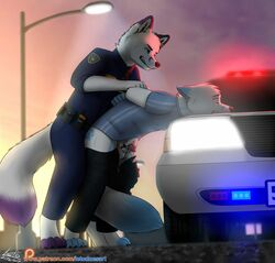 2017 anal anal_knotting anal_sex animal_genitalia animal_penis anthro arctic_fox balls bent_over brothers canine canine_penis car detailed_background fluffy fluffy_tail fox grabbing_from_behind hands_behind_back incest knotting leto_(letodoesart) letodoesart lying male male/male male_penetrating mammal on_front penetration penis penis_tip police police_brutality police_car precum public questionable_consent reach_around sex sibling side_view tail_between_legs unprofessional_behavior vehicle