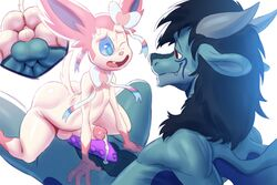 2boys anthro belly big_ass big_penis big_testicles black_hair blue_eyes blue_fur blue_sclera blue_skin bumpy_penis cum cum_on_penis dragon duo eeveelution erection eye_contact fang frottage furry gay gerkk girly interspecies large_ass large_penis large_testicles long_hair male male_only nintendo on_back on_top original_character penis penises_touching pink_fur pokémon_(species) pokemon pokemon_xy precum purple_penis red_eyes ribbon rubbing scalie size_difference smile spread_legs spreading sweat sylveon testicles thick_thighs trap tumblr video_games white_background white_fur wide_hips wings yaoi