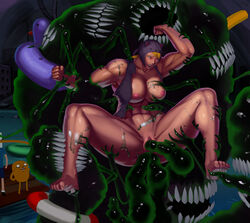 absurdres adventure_time aka6 anal animal_ears areolae ass blonde_hair blush breasts clenched_hands double_penetration fake_animal_ears feet finn_the_human highres jake_the_dog large_breasts monster muscle muscular_female nipples open_mouth pussy rape sex shirt spread_legs susan_strong tentacle torn_clothes uncensored