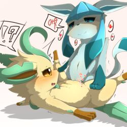 ! 2girls ? ?! belly big_ears blue_eyes blue_fur brown_eyes brown_fur canine duo eeveelution eye_contact eyelashes female female_only feral feral_on_feral flat_chest fur furry glaceon half-closed_eyes hand_on_leg heart heart-shaped_pupils hi_res hybrid interspecies japanese_text leaf leafeon long_ears mammal masturbation minami_juuji motion_lines mutual_masturbation navel nintendo no_nipples nude on_back on_top open_mouth paws plant pokémon_(species) pokemon pokemon_dppt pussy rubbing simple_background smile speech_bubble spoken_heart spread_arms spread_legs spreading sweat tail tan_fur text trembling tribadism video_games white_background yuri