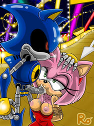 1boy 1girl amy_rose anthro balls blue_skin blush breasts breasts_outside cum cum_in_mouth cum_on_penis cumdrip cumshot detailed_background dress duo ejaculation exposed fellatio female forced forced_oral fur grabbing green_eyes grey_penis hands_behind_back head_grab hedgehog highway kneeling male mammal mechanical mechanical_penis medium_breasts metal_penis metal_sonic nipples nude omegazuel oral penis pink_fur raianonzika red_eyes robot sega sex sonic_(series) sonic_cd stardust_speedway straight technophilia tied_arms tied_up zerbukii