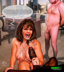 bbc big_penis cuckold cum cum_on_breasts cum_on_face dark-skinned_male dark_skin english_text female femdom holding_penis interracial kinkyjimmy male sarah_palin size_difference small_penis small_penis_humiliation text