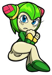 ass blue_eyes cosmo_the_seedrian female female_only green_hair green_skin presenting presenting_pussy pussy scared seedrian sega simple_background solo sonic_(series) sonic_x spectrys white_background