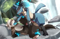2boys 3_toes anal anal_sex anthro arms_behind_back arms_tied belly big_ass black_fur blonde_hair blue_eyes blue_fur blush brown_fur canine canine_penis closed_eyes conditional_dnp cum cum_on_self ebonyplume eyewear feet ferret fluffy fluffy_tail forest fur furry gay glasses glowing glowing_eyes grin hair hand_in_mouth hands_behind_back humanoid_penis interspecies knot knotting lucario magic male male_only mammal markings mustelid nintendo no_nipples on_back oral original_character outdoors pawpads paws penetration penis pink_nose pokémon_(species) pokemon pokemon_dppt precum restrained rock sex short_hair smile spikes spread_legs spreading sweat tail tan_fur text thick_thighs toes tree video_games water waterfall watermark wet wide_hips yaoi