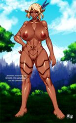 big_breasts blonde_hair blue_eyes body_markings breasts commission dark-skinned_female dark_skin elf female female_only filia_einhart forest grass hand_on_hip huge_breasts jadenkaiba large_breasts legs looking_at_viewer markings muscles muscular muscular_female navel nipples original original_character pose posing pussy solo standing thick_thighs thighs