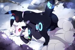 1boy 1girl 3_toes all_fours alolan_vulpix alternate_color areola areolae ass bell big_ears big_penis big_tail bioluminescence black_fur black_nose blue_fur blue_penis blush bracelet breasts closed_eyes clothing collar conditional_dnp cum cum_on_penis dickgirl dickgirl/male drooling ebonyplume erection eyelashes frottage fur furry gloves glowing heavy_breathing imminent_sex intersex intersex/male interspecies jewelry large_penis legs_raised legwear long_ears long_penis male male_on_top markings missionary_position multi_tail nintendo nipples on_back on_top open_mouth original_character outdoors outside paws penis pokémon_(species) pokemon pokemon_gsc pokemon_sm raised_tail rear_view rock saliva sex shiny_pokemon snow snowing spread_legs spreading stockings sweat tail testicles text thick_thighs thighhighs toes tongue tongue_out tree video_games watermark white_fur