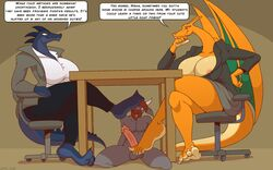 1boy 2girls 4_toes 5_toes anthro areola arm_support ass beard big_ass big_breasts big_ears big_feet big_penis big_tail blue_eyes blue_skin breasts brown_background brown_hair caprine chair charizard claws cleavage clothed clothed/nude clothed_female_nude_male clothing coat crocodile crocodilian dialogue dragon eyelashes feet female femdom foot_fetish foot_on_head foot_play footjob furry goat green_eyes grey_skin group group_sex hand_on_hips horns huge_ass huge_breasts interspecies kneeling large_ass large_penis lipstick long_ears long_nails long_neck long_penis male mammal ms._zard nintendo nipple_slip nisha_(saatchi) nude orange_skin original_character pants penis pokémon_(species) pokemon pokemon_rgby red_eyes reptile scalie shirt short_hair sitting smile soles spikes straight table tail testicles text thick_thighs threesome toes tongue tongue_out tumblr under_table under_the_table video_games wide_hips wings zp92