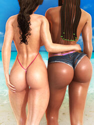 2girls 3d back_view bare_shoulders beach becarra bikini bikini_bottom brown_hair busty butt_crack curvy dark-skinned_female dark_skin denim denim_shorts detailed_background duo english_text female female_only freckles half-dressed half_dressed hitomi_kurosawa hourglass_figure hugging human long_hair multiple_females multiple_girls nail_polish no_bra one-piece_swimsuit outdoor outside pose posing sand shiny shiny_skin short_shorts shorts sling_bikini standing swimsuit tatoo text thong topless voluptuous water wide_hips zoe_nomura