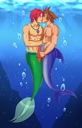 2boys ace_(artist) animal_genitalia animal_penis ariel blue_tail brown_hair censored closed_eyes crossover disney fin fish frottage gay gills grabbing green_tail hybrid kingdom_hearts kissing male male_only mermaid merman multiple_boys multiple_males multiple_penises muscles muscular muscular_male ocean pecs penis penis_grab red_hair rule_63 sea sora square_enix the_little_mermaid touching underwater water yaoi