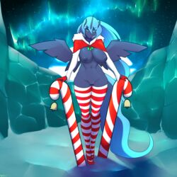 alicorn anthro breasts candy candy_cane christmas clothing da3rd equine female food footwear friendship_is_magic holidays horn legwear mammal my_little_pony nipples princess_luna_(mlp) pussy shoes solo standing thigh_highs wide_hips wings