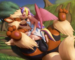 1boy 1girl 3_toes animal_genitalia animal_penis anus arcanine ass bare_shoulders barefoot big_ass big_feet big_testicles blonde_hair canine canine_penis clothed clothed_female_nude_male clothing cowgirl_position cum cum_inside day dress duo eyelashes fangs feet female female_on_feral feral furry grass half-closed_eyes horn huge_ass huge_testicles human human_on_feral interspecies knot knotting large_ass large_testicles looking_at_viewer looking_back male mammal nintendo no_panties nude on_back on_top open_mouth outdoors pawpads paws penetration penis pienji pink_eyes pink_hair pokémon_(species) pokemon pokemon_rgby princess_iris princessyiris purple_hair sex sideboob size_difference smile soles straight tail tears teeth testicles thick_thighs tongue tree video_games wide_hips wings zoophilia