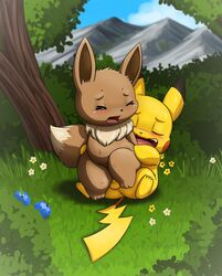 >_< 1boy 1girl 3_toes ass_grab belly berry big_ass big_ears big_tail black_fur black_nose blush brown_fur bush canine chest_tuft chubby closed_eyes clouds cowgirl_position cute day detailed_background eevee fangs feet female feral flower furry grass holding implied_penetration interspecies large_ass lkiws long_ears male mountain navel nintendo nude on_top open_mouth outdoors paws penis pikachu pokémon_(species) pokemon pokemon_rgby reverse_cowgirl_position rodent sex shadow sky small_penis soles standing straight tail teeth testicles thick_thighs tongue tree wide_hips yellow_fur