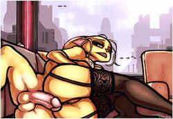 angela_cross anthro clothing female fur legwear lingerie lombax looking_at_viewer luraiokun male penis pussy ratchet ratchet_and_clank spooning stockings video_games yellow_fur