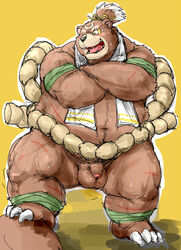 2016 balls barazoku bear big_balls blush clothed clothing crossed_arms facing_viewer flaccid full_portrait grizzly_bear humanoid_penis kemono kotobuki male mammal muscular obese overweight partially_clothed penis pose scar simple_background solo standing sweat