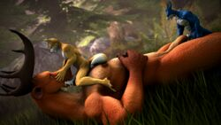 2018 3d_(artwork) 5_fingers abs anthro canine cervine claws closed_eyes cum cum_in_mouth cum_in_penis cum_inside digimon digital_media_(artwork) fellatio flamedramon forest fox fox_mccloud fox_whisper85 grass group group_sex horn interspecies larger_male looking_pleasured male male/male mammal nintendo oral orgasm pecs penetration penis penis_in_penis sex size_difference smaller_male source_filmmaker star_fox teeth tree urethral urethral_penetration video_games