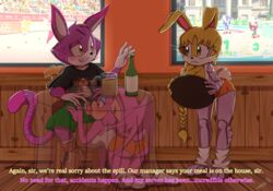 absurd_res alcohol all_fours ass bat beer bessi_the_bat beverage big_breasts bluechika blush breasts bunnie_rabbot canine chair cheshire_thaddeus_felonious cleavage clothed clothing detailed_background echidna english_text feline feline fellatio female fox hedgehog hi_res hooters huge_breasts knuckles_the_echidna lagomorph leg_warmers legwear male male/female mammal monotreme olympics oral penis penis_through_fly poking_out rabbit saliva sex shorts sneakers sochi_2014 sonic_(series) sonic_the_hedgehog stealth_sex table tails text translucent under_the_table unprofessional_behavior wide_hips wings