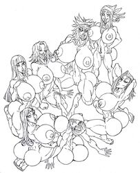 7girls adult age_difference aged_up android_18 back_view bandage bandana bare_shoulders barefoot big_ass big_breasts big_butt black_and_white bleach bubble_butt bulma_briefs busty butt_crack crossover curvy dat_ass dragon_ball dragon_ball_gt dragon_ball_z erect_nipple erect_nipples eyelashes female female_only front_view group hair_ornament hand_on_hip hands_on_hip hands_on_hips hourglass_figure human hyuuga_hinata inoue_orihime kneeling kukaku_shiba long_hair looking_at_viewer looking_back mature milf mother multiple_females multiple_girls naked naruto nipple_piercing nude older pan_(dragon_ball) piercing pose posing sakura_haruno shaved_pussy short_hair simple_background smiling spread_legs spreading standing sun1sol thick_lips voluptuous white_background wide_hips