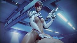 1boy 1girl 3d alternate_costume animated bottomless bouncing_breasts breasts brown_hair cowgirl_position medium_breasts nipples no_sound overwatch sex short_hair sombra tagme talon_sombra weapon webm yeero