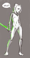? ahsoka_tano alien areola breasts clone_wars clothing dialogue facial_markings feet female front_view full-length_portrait gloves glowing grey_background head_tails holding_object holding_weapon humanoid humanoid_feet lightsaber markings mostly_nude nipples not_furry portrait pussy simple_background sketch skinny small_breasts solo speech_bubble spot_color standing star_wars togruta tourbillon weapon