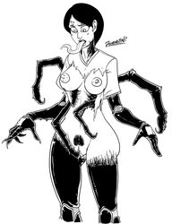 2012 animal_humanoid arthropod big_breasts breasts clothing doomington female hair humanoid long_tongue masturbation monochrome multi_arm multi_limb nipples pubes pussy simple_background solo spider_humanoid standing surprise symbiote tongue tongue_out torn_clothing transformation white_background