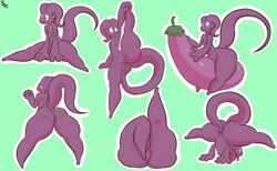 alien anus ass big_butt blue_background digital_media_(artwork) eggplant featureless_crotch female flat_chested flexible food fruit green_background half-closed_eyes immortalstar looking_back lying nimit puffy_anus purple_body raised_leg simple_background sitting smile solo standing thick_thighs white_outline wide_hips