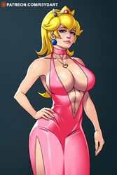 abs big_breasts blonde_hair blue_eyes breasts cleavage crown female female_only large_breasts looking_at_viewer muscles muscular muscular_female princess_peach r3ydart solo super_mario_bros.