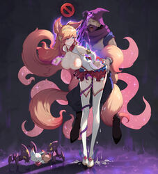 1boy absurdres ahri animal_ears ass_grab baggy_pants bangs bare_shoulders bent_over blue_eyes boots breasts breasts_outside circlet clenched_teeth crazyzhuozhuo crying cum cum_in_pussy cum_on_body cum_on_breasts cum_on_upper_body cumdrip detached_sleeves eyebrows_visible_through_hair familiar female fox_ears fox_girl fox_tail full_body grabbing hair_ornament half-closed_eyes highres hood large_breasts league_of_legends magical_girl malzahar nipples open_mouth orange_hair pants pet pleated_skirt rape restrained saliva skirt skirt_lift sparkle star_guardian_ahri straight sweatdrop swept_bangs tail tears teeth thigh_boots thighhighs yellow_eyes