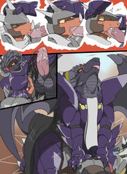 2013 anthro armor balls belly_scales black_scales blue_scales blush claws comic dialogue digital_media_(artwork) dragon eins english_text erection falz fellatio forced forced_oral group group_sex hi_res humanoid_penis licking male male/male membranous_wings motion_lines oral oral_penetration orange_eyes orange_scales outside penetration penis penis_lick ruze saliva scales scalie scarf sex size_difference sky text threesome toe_claws tongue tongue_out western_dragon wide_eyed wings yellow_sclera zerofox1000