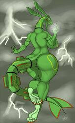 1girl 5_toes anthro areolae ass aura back barefoot big_ass big_breasts big_feet big_tail black_skin breasts claws dragon electricity feet female female_only flying from_behind green_skin grey_background hi_res huge_ass huge_breasts humanoid_feet large_ass large_breasts legendary_pokémon lightning long_nails long_neck long_tail looking_at_viewer looking_back nintendo nipples non-mammal_breasts nude outdoors plantigrade pokémon_(species) pokemon pokemon_rse rayquaza red_skin scalie sideboob sky smile soles solo storm tail text thick_thighs thunder toes video_games watermark weather wide_hips yellow_eyes yellow_skin zp92