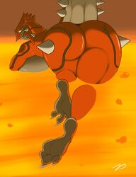 1girl 3_toes ass back barefoot big_ass big_breasts big_tail black_skin breasts bubble claws eyelashes fangs feet female female_only foot_focus from_behind groudon hindpaw huge_ass huge_breasts large_ass large_breasts lava legendary_pokémon long_nails long_neck looking_at_viewer looking_back nintendo nude orange_background paws plantigrade pokémon_(species) pokemon pokemon_rse red_skin scalie smile soles solo spikes swimming tail teeth text thick_thighs toes underboob video_games warm_colors watermark wide_hips yellow_eyes zp92