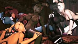 3d_(artwork) animatronic anthro ass bexstinsfm big_breasts bonnie_(fnaf) breasts canine digital_media_(artwork) dildo fan_character female female/female five_nights_at_freddy's glowing glowing_eyes group group_sex hair isabel_(bexstinsfm) kissing lagomorph licking machine mammal nipple_piercing nipples nude open_mouth oral orgy piercing pussy rabbit robot rule_63 sex sex_toy shadow_bonnie_(fnaf) simple_background smile source_filmmaker tongue tongue_out vaginal_penetration video_games yuri