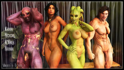 2boys 2girls 3d abs alien alien_girl bald bare_shoulders becarra big_breasts black_eyes black_hair brown_hair busty curvy detailed_background erect_nipple erect_nipples eyelashes female flaccid front_view green_eyes green_hair group hairy_pussy hourglass_figure human humanoid indoor inside k'yara looking_at_viewer looking_up marking multiple_boys multiple_females multiple_girls multiple_males naked necklace noor nude pose posing pubes pubic_hair purple_eyes purple_skin room shiny shiny_skin short_hair smiling standing voluptuous wide_hips