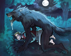 cum_while_penetrated gay male male_only size_difference teen_wolf werewolf yaoi