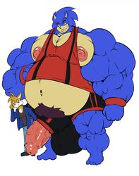 anthro big_nipples bobert canine duo fox hedgehog huge_muscles hyper hyper_muscles male male/male mammal musclegut muscular nipples penis poking_out size_difference sonic_(series) sonic_the_hedgehog tails