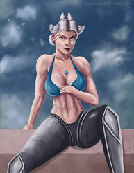 big_breasts camille camille_(league_of_legends) clouds league_of_legends pale_skin pendant simple_background sitting white_hair