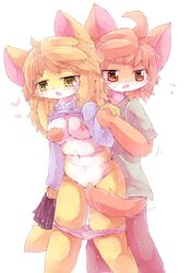 1boy artist_request blonde_hair breasts breasts_groping brown_eyes brown_hair canine female furry tail_censor