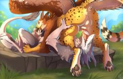 2018 69_position anthro avian balls beak cum duo erection feathered_wings feathers fellatio fur fynath gryphon hornedfreak male male/male mammal nude oral paws penis sergal sex tongue wings