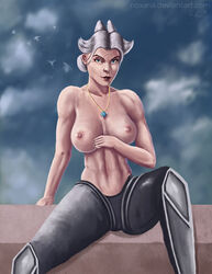 big_breasts camille camille_(league_of_legends) league_of_legends nipples pale_skin white_hair