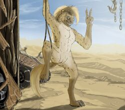 anthro barefoot black_nose blue_eyes brown_fur brown_hair chains day desert ear_piercing eyewear female flat_chested fluffy fluffy_tail fur gnoll hair hook hyena long_hair mammal nude outside paws piercing pussy sand sky smile solo sunglasses v_sign vehicle wasteland zafara_(artist)