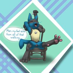 1girl 2018 3_fingers 3_toes anatomically_correct anatomically_correct_pussy animal_genitalia animal_pussy anthro big_ears black_fur blue_background blue_fur canine canine_pussy chair closed_eyes darkwufflez dialogue digital_media_(artwork) english_text fang feet female female_only flat_chest foot_focus furry hands_behind_head hi_res lucario mammal nintendo no_nipples nude open_mouth pawpads paws pokémon_(species) pokemon pokemon_dppt presenting pussy sitting solo speech_bubble spikes spread_legs spreading stretching teeth text thin_waist toes tongue tongue_out tumblr video_games yawn yellow_fur