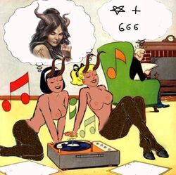 breasts duo_focus edit female group hooves horn human humanoid inside mammal musical_note not_furry unknown_artist