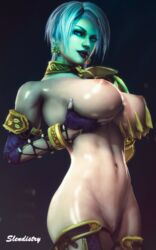 3d absurdres areolae big_breasts breasts highres isabella_valentine large_breasts looking_at_viewer nipples pussy slendistry solo soul_calibur source_filmmaker