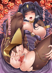 :d anus bangs black_hair blunt_bangs blush bodysuit breasts bridal_gauntlets circlet eyebrows_visible_through_hair female fire_emblem flower heart heart-shaped_pupils high_heels highres large_breasts lips long_hair looking_at_viewer lying mushi024 nail_polish nipples on_back open_mouth pink_nails pubic_hair purple_eyes pussy pussy_juice rose saliva smile solo spread_legs spread_pussy stockings sweat symbol-shaped_pupils tharja torn_bodysuit torn_clothes translated two_side_up uncensored upper_teeth