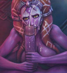 34-san absurdres big_breasts breasts cleavage cum cum_on_face cumshot facial fellatio female highres huge_cock large_breasts looking_at_viewer male open_mouth oral penis pov star_wars straight togruta tongue tongue_out