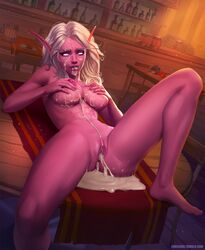after_sex areolae breasts cum cum_drip cum_in_ass cum_in_pussy cum_inside cum_on_breasts cum_pool elf evulchibi female female_only looking_at_viewer night_elf nipples nude pussy solo world_of_warcraft
